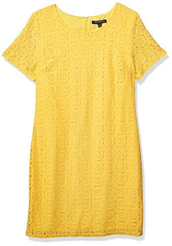 Sharagano Damen Tshirt Lace Dress Kleid, gelb, 44