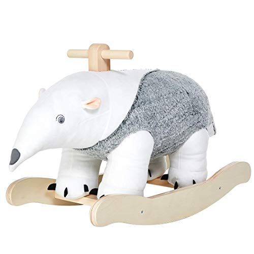 labebe - Plush Rocking Horse, Anteater Rocker, Stuffed Rocker Toy for Child 1-3 Year Old, Kid Ride On Toy Wooden, Rocking Animal for Infant/Toddler Girl&Boy, Nursery Birthday Gift