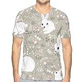 Rabbits Forest Pattern Short Sleeve tee Novelty Teen Unisex T Shirt