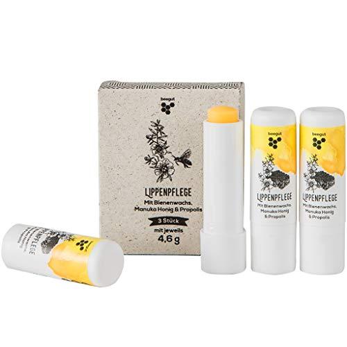 beegut Lippenbalsam mit Bienenwachs, Propolis & Manuka Honig zur natürlichen Lippenpflege, 3er Vorratspackung (3 x 4,6g)
