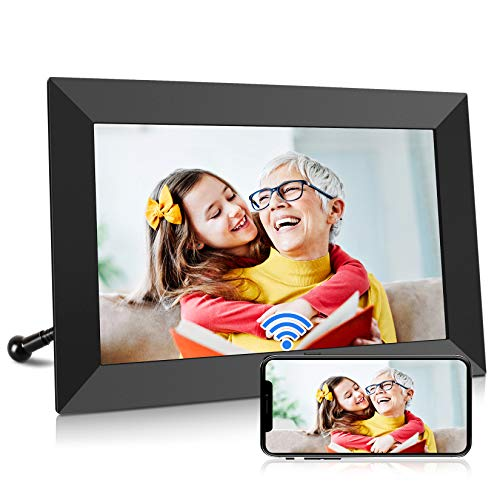 10.1 Inch WiFi Digital Photo Frame, IPS Touch Screen Digital Picture Frame, Supports 1080P, Auto-Rotate, Micro USB/SD Slot, Share Photos and Videos via iOS & Android APP, Email, Cloud