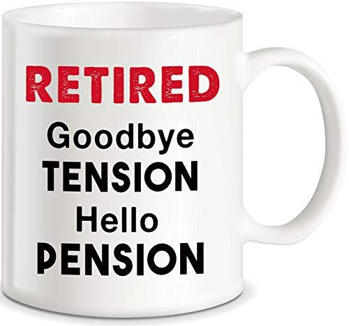 Hello Pension - Taza de café con texto en inglés'Goodbye Tension Office Humor', ideal como regalo para marido, esposa, madre, papá, adulto, hombre, para Navidad, cumpleaños