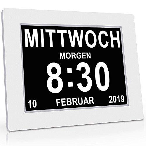 Senior Watch 8 Zoll. Digitaler Kalender Und Seniorenuhr - Fotofunktion - Digitaluhr - Weckerkalender Für Senioren Und SeniorenDemenzkranke (z. B. Alzheimer) Mit Erinnerungsfunktion