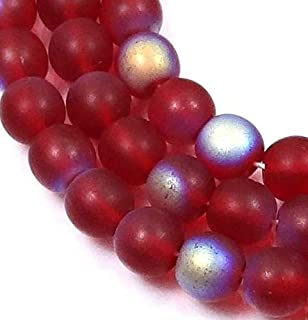 50 Czech Frosted Sea Glass Round Beads - Matte - Siam Ruby AB Moonstone 6mm, Beading, Jewelry Making, DIY Crafting, Arts & Sewing by Perfect Beads Store