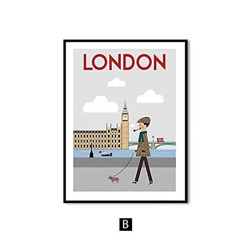 Flduod Cartoon stad landschap Canvas schilderij moderne minimalistische Wall Art posters en prints muur foto's voor woonkamer Home Decor50x75cm