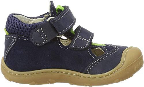 RICOSTA Unisex-Kinder EBI T-Spangen Sandalen, Blau (Nautic 174), 18 EU