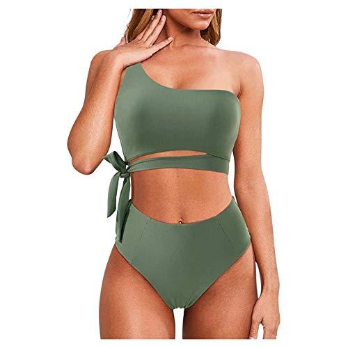 Sanser Bikini sexy push-up para mujer, conjunto de dos piezas, monocolor, traje de baño, ropa de playa, parte superior de cintura alta #1_verde militar L