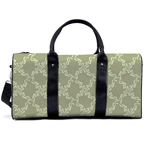 Sports Gym Bag,Floral Geometric Pattern Retro Oriental Flourish Ornament Handbag Yoga Bag Shoulder Tote Weekend Bag Travel Holdall Duffel Bag for Adult Men Women