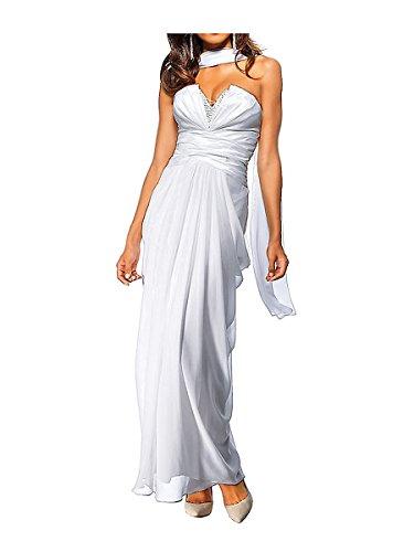 Heine Damen-Kleid Abendkleid mit Schal Weiß Größe 20 (40)