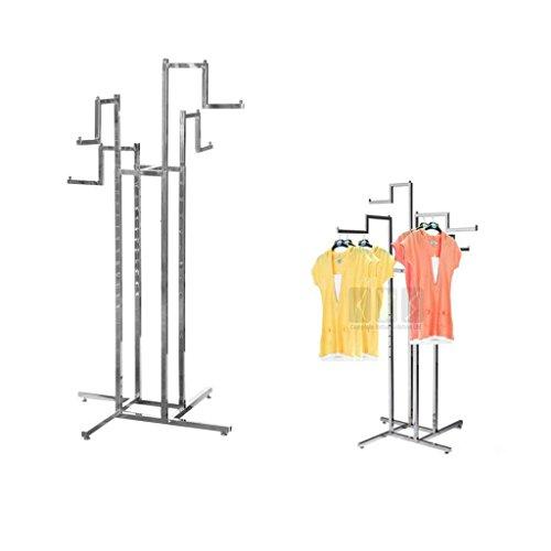4 way todos los STEP brazo colgador de ropa con ruedas resistente el expositor de una tienda perchero de pie