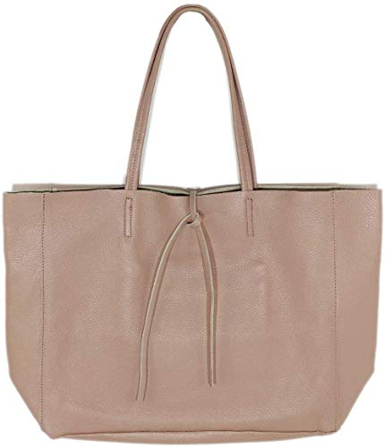 FISH IN THE SEA made in Italy Leder Shopper Uni Business Tragetasche XXL (Nude)