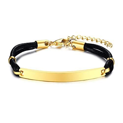 Rockyu ブランド 人気 ブレスレット ゴールド ステンレス メンズ レディース プレート シンプル ユニセック 誕生日 プレゼント