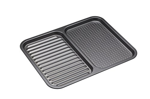 """Master Class KCMCHB99 Non-Stick 2-in-1 Divided Crisping Ridged Baking Tray, 39 x 31 cm (15"""" x 12""""), Carbon Steel, Grey, 39 x 31 x 1,5 cm"""