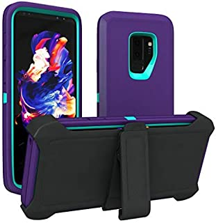 Galaxy S9+ Plus Case, ToughBox [Armor Series] [Shock Proof] [Purple   Aqua] for Samsung Galaxy S9+ Plus Case [Comes with Holster & Belt Clip] [Fits OtterBox Defender Series Belt Clip Cover]