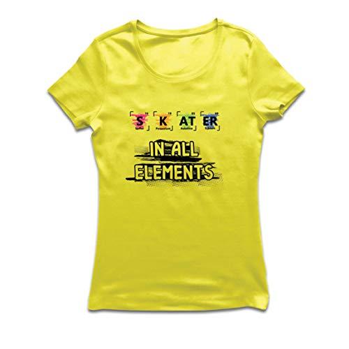 lepni.me Camiseta Mujer Patinador en Todos los Elementos Qumica Peridica de Mesa Deporte (Medium Amarillo Multicolor)