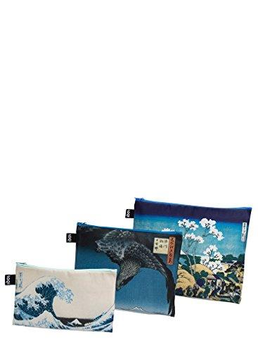 LOQI Museum Hokusai Zip Pockets ID Case, 32 cm, Multicolour