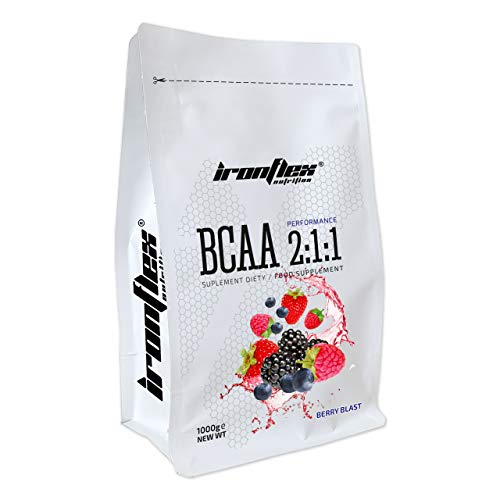 Iron Flex BCAA 2-1-1-1 Pack - Branched Chain Amino Acids in Powder - Muscle Regeneration - Anticatabolic (Berry Blast, 1000g)