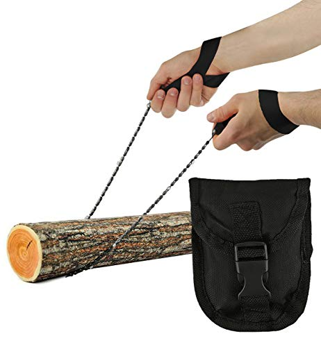 """Pocket Chainsaw - Razor Sharp Self Cleaning 25.5 In Portable Hand Saw Survival Gear with Black Holster for Camping, Hunting, Hiking   Pocket-sized 25.5"""" Emergency Wilderness Survival Chain Saw (Black)"""