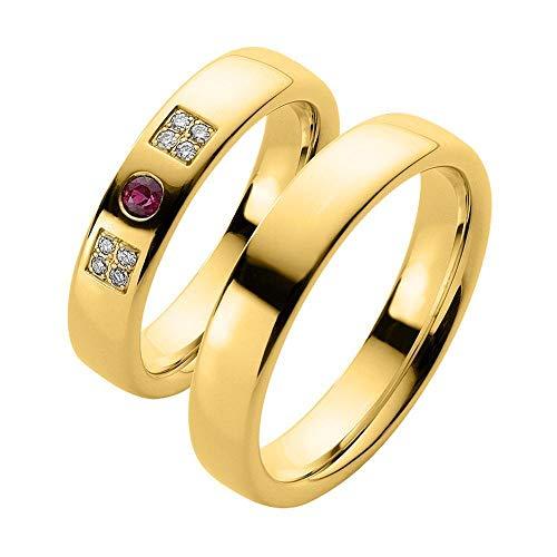 CORE by Schumann Design Trauringe Eheringe aus 333 Gold (8 Karat) Gelbgold mit echten Diamanten GRATIS Testringservice & Gravur & Rubin 19023845