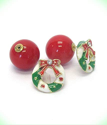 Wreath RED Front and Back Double Sided Clear Crystal Ball Earrings for Women