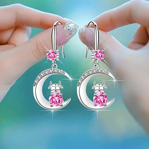 Boucles d'oreilles mollettes, boucles d'oreilles de lune, boucles d'oreilles en diamant (diamants blancs, diamants bleus, diamants roses)