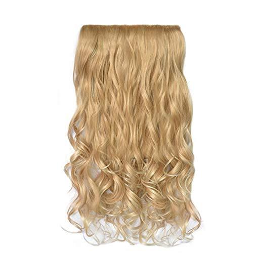 eiuEQIU Extensiones de pelo ondulado para mujer de 52 cm, 1 paquete de extensiones de pelo ondulado ondulado con clip para cabello sintético, 5 clips