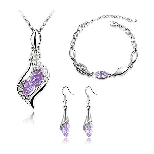 Graces Dawn Beautiful Cubic Zirconia with Platinum Plated Chain Necklace Angel Elf Pendant Mosaic Crystal Necklace Bracelet and Earrings Set Necklace 18' (Light Purple)