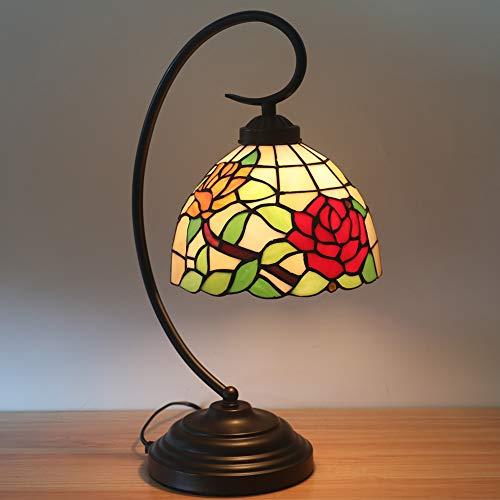 GUOGEGE Tiffany bureaulamp, rozenbloem stijl gekleurd glas tafel bureau leeslamp, voor woonkamer slaapkamer boekenkast dressoir koffietafel, YF049
