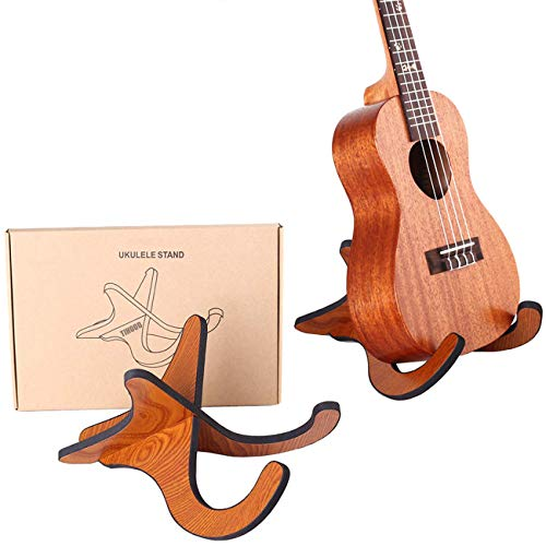 TIHOOD Wooden Ukelele Stand Holder Musical Instrument Stand Concert Portable Wood Stand for Small Guitar, Violin, Banjo