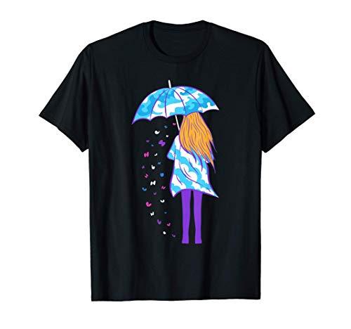 Chica con paraguas nubes olas mariposas arte Camiseta