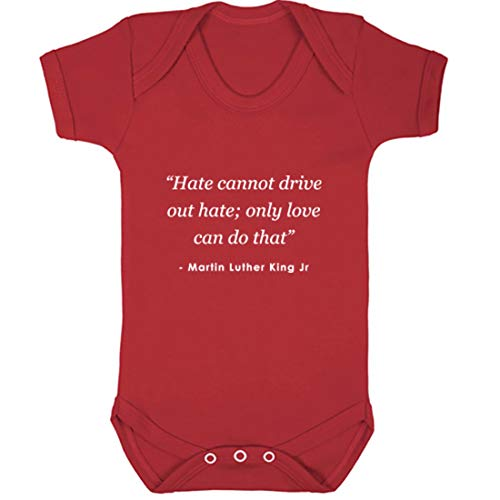 Gilet pour bébé illustré Hate Cannot Drive Out Hate ; Only Love Can Do That Martin Luther King JR - Rouge - 2 mois