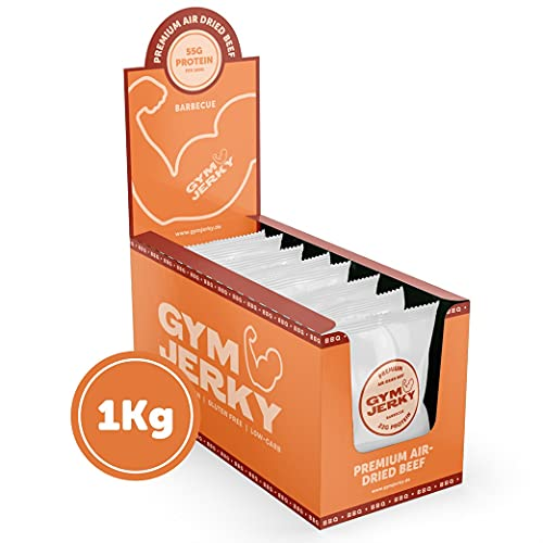 Gym Jerky Beef Barbecue 1kg - 25x40g High Protein - Low Fat & Low Carb - Deutsches Premium-Rindfleisch Made in Germany