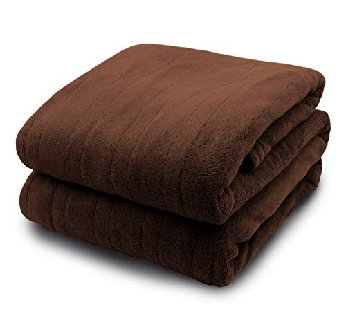Biddeford Micro Plush Electric Heated Blanket with Digital Controller, King, Chocolate