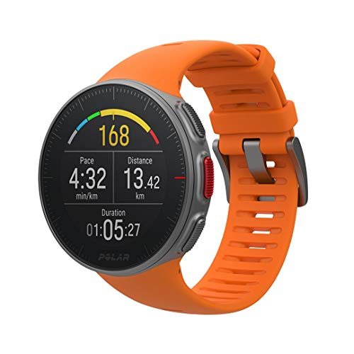 Polar Vantage V – Reloj Premium con GPS y Frecuencia Cardíaca, Multideporte y Perfil de Triatlón, Potencia de Running, Batería Ultra Larga, Resistente al Agua, Naranja, M/L (155 - 210 mm)