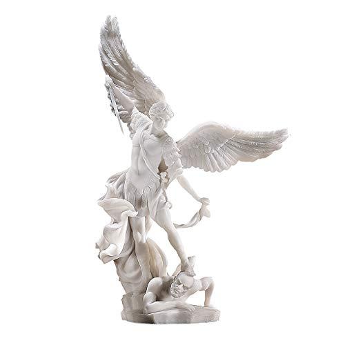 Design Toscano Statua in Polvere di Marmo Arcangelo Michele, Bianco, 12.5x25.5x38 cm