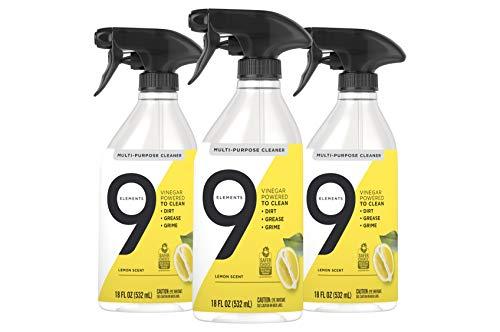 9 Elements All Purpose Cleaner, Lemon Multi Surface Cleaning Vinegar Spray, 18 oz Bottles (Pack of 3)