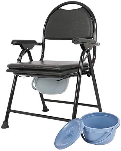 FREIHE opklapbare nachtkastje commode stoel, draagbare douchestoel, met wc-bril splash emmer, gewatteerde rugleuning/zitkussen, medische antislip, zwart, 750 lbs belasting