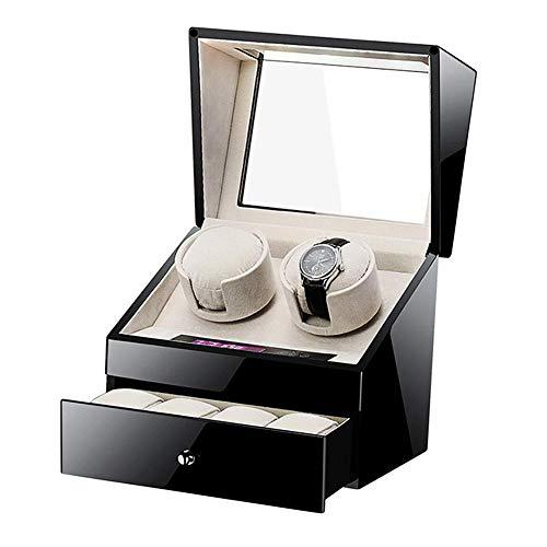 ZHANGYH Vibrador de Reloj mecánico Enrollador de Reloj automático para 2 + 4 Relojes Caja de presentación con Caja de Almacenamiento con cajón, Motor silencioso Pantalla
