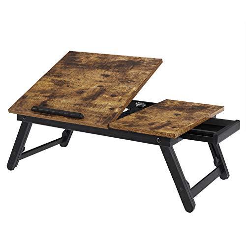 SONGMICS Laptoptisch, Laptopständer, Frühstückstablett, klappbare Beine, für Bett und Sofa, höhenverstellbar, für bis zu 15,6 Zoll Laptops, 55 x 35 x 23 cm, vintagebraun LLD105B01