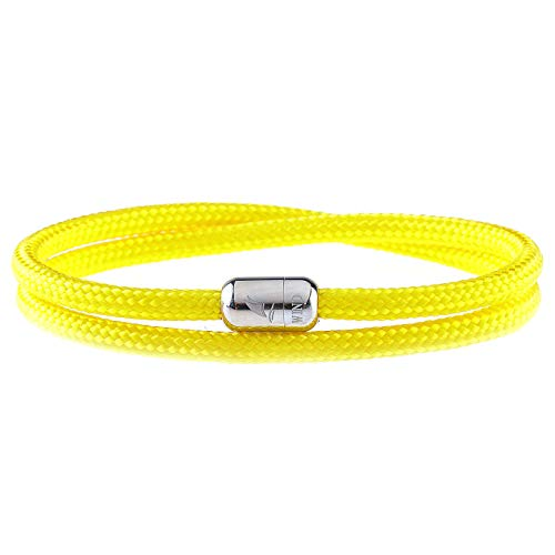 Wind Passion Lightweight Nautical Paracord Sturdy Rope Yellow Bracelet with Magnetic Clasp for Men Women, Large Size
