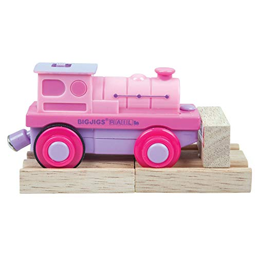 Bigjigs Rail Pink Battery Operated Train Engine Carriage with Wooden Track