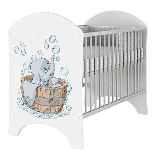 iGLOBAL Babybett Kinderbett Gitterbett Komplettset Ausstattung 2 Schlupfsprossen 3-fach Höhenverstellbarer Matratze Schaumstoff +Kokosfasern 120x60 cm (Dumbo)
