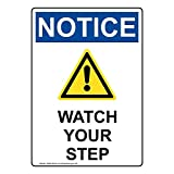 Notice Watch Your Step OSHA Safety Industrial Notices Metal Tin Sign Aluminum Sign