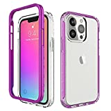 Funda para iPhone 13pro 2021 2 en 1 de silicona fina PC carcasa antigolpes antiarañazos funda para iPhone 13pro (púrpura)