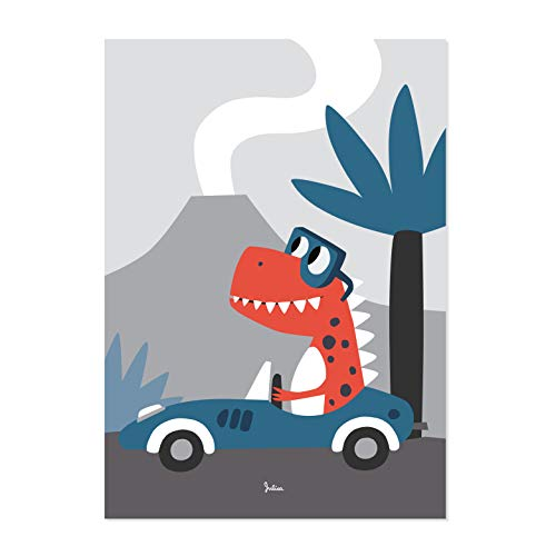 Julica Dino Poster | Wanddeko Kinderzimmer Jungen | 50 x 70 cm | Wandbild Dino | Kinderposter