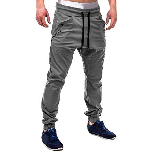 UJUNAOR Freizeithosen Herren Sommerhose Lange Stoffhose Sport Hose Regular Fit M bis 3XL(Grau,EU 54/CN 2XL)