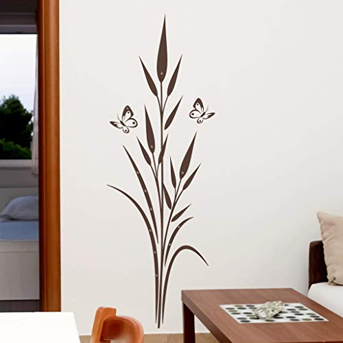 Exklusivpro Wandtattoo Pflanze Flora Staude See-Gras Schmetterlinge mit Swarovski Strass Wohnzimmer (jap38g gelb) 120 cm mit Farb- u. Größenwahl