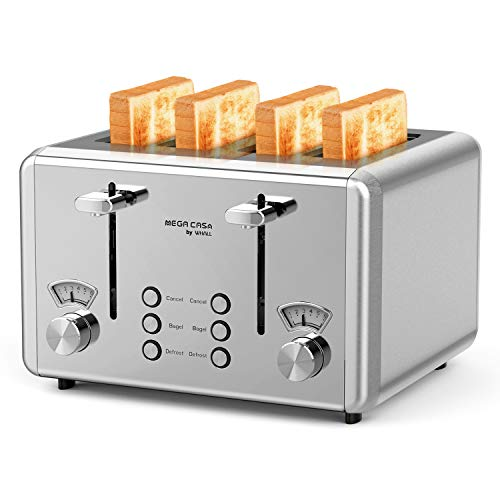 4 Slice Toaster, whall Stainless Steel,Bagel Toaster - 6 Bread Shade Settings,Bagel/Defrost Cancel Function with Dual Control Panels,4 Extra Wide Slots,Removable Crumb Tray,for Various Bread Types 1500W/Black