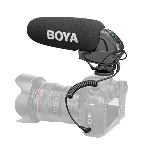 BOYA BY-BM3030 On-Camera Shotgun Condenser Microphone Mic Supercardioid Intergrated Shock Mount 3.5mm Plug with 2pcs Windscreens Carry Pouch for DSLR Cameras Camcorders Audio Recorders