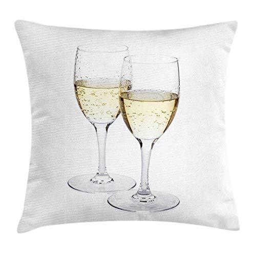 Funda de Cojine Funda de cojín de almohada con diseño de champán, imagen de la vida real de 2 cristalería Amor Matrimonio Romántico Día de San Valentín Throw Cojín 45 X 45CM